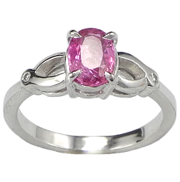 Bague or gris Saphir rose...