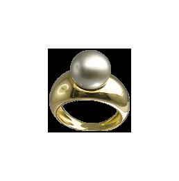 Bague en or jaune perle de...